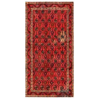 Herat Oriental Afghan Hand-knotted Tribal Balouchi Red/ Black Wool Rug (4'7 x 9'9)