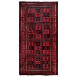 Herat Oriental Afghan Hand-knotted Tribal Balouchi Red/ Black Wool Rug (4'3 x 8')
