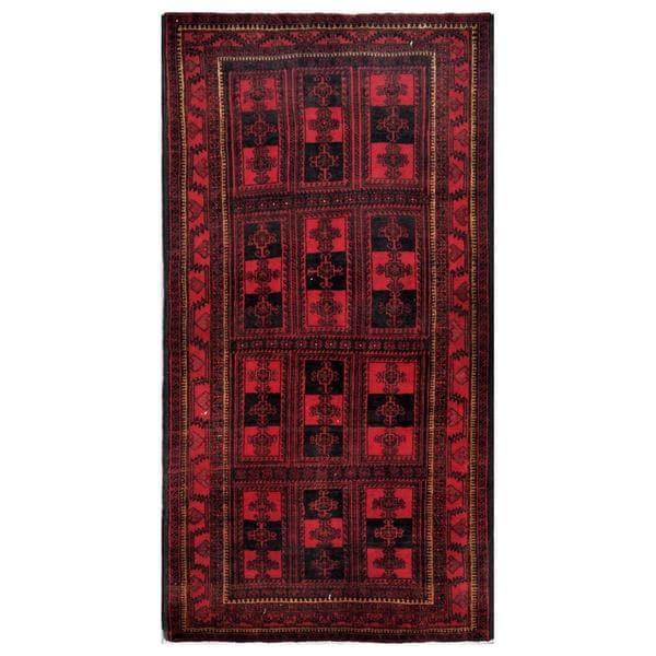 Handmade Herat Oriental Afghan Tribal Balouchi Wool Rug (Afghanistan) - 4'3 x 8'