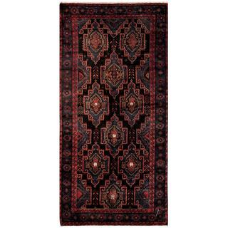 Herat Oriental Afghan Hand-knotted Tribal Balouchi Navy/ Red Wool Rug (4'1 x 8'5)