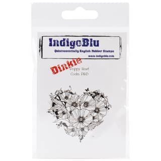 "IndigoBlu Cling Mounted Stamp 3""X3""-Poppy Heart-Dinkie