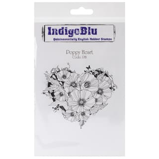 "IndigoBlu Cling Mounted Stamp 5""X4""-Poppy Heart