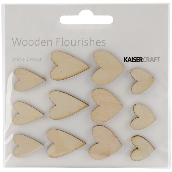 Wood Flourishes-Hearts 12/Pkg