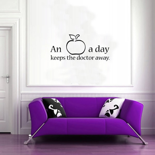 shop an apple a day quote vinyl sticker wall decal - free shipping