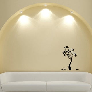Contemporary Tree Glossy Black Vinyl Sticker Wall Decal
