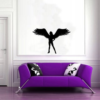 Dramatic Winged Angel Girl Glossy Black Vinyl Sticker Wall Decal
