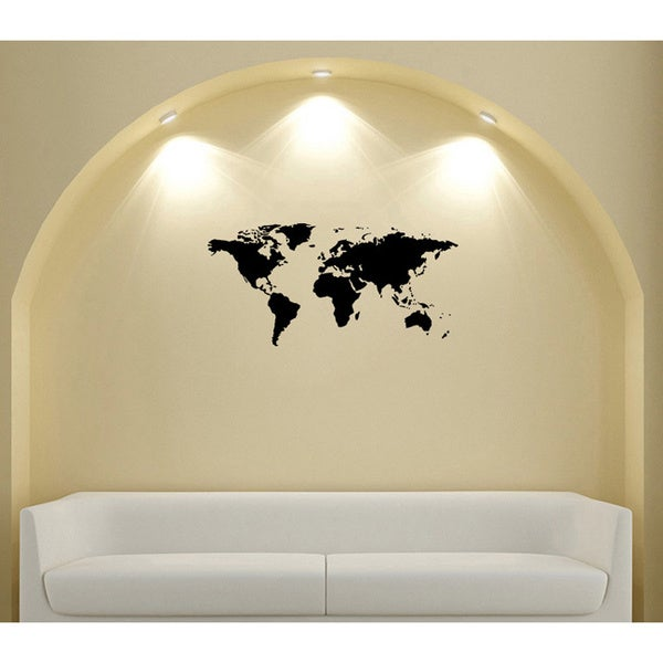 World Map Glossy Black Vinyl Sticker Wall Decal