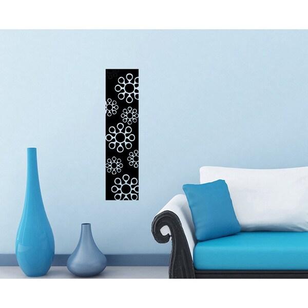 Flowers Glossy Black Vinyl Sticker Wall Decal