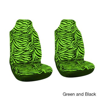 Oxgord Zebra/ Tiger Striped 2-piece Integrated Bucket Seat Cover Set for High Back Sport Seats (Option: Green and Black)