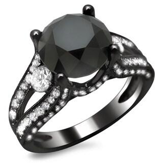 Noori 18k Black Gold 4ct TDW Certified Black and White Round Diamond Ring