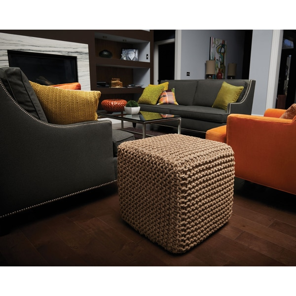 Love These Cube Tables For Patio Or Living Room Made From: Shop Jani Natural Jute Pouf Cube Ottoman