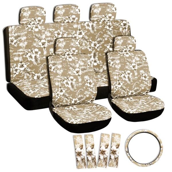 Oxgord Hawaii Beige / Tan 17-piece Seat Cover Set with Hawaiian Hibiscus Flowers