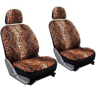 Oxgord 6-piece Velour Cheetah/ Leopard Low Back Universal Fit Front Bucket Seat Cover Set