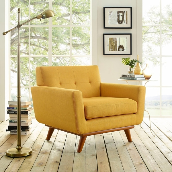 Carson Carrington Sigtuna Wooden Leg Mid-century Armchair. Opens flyout.