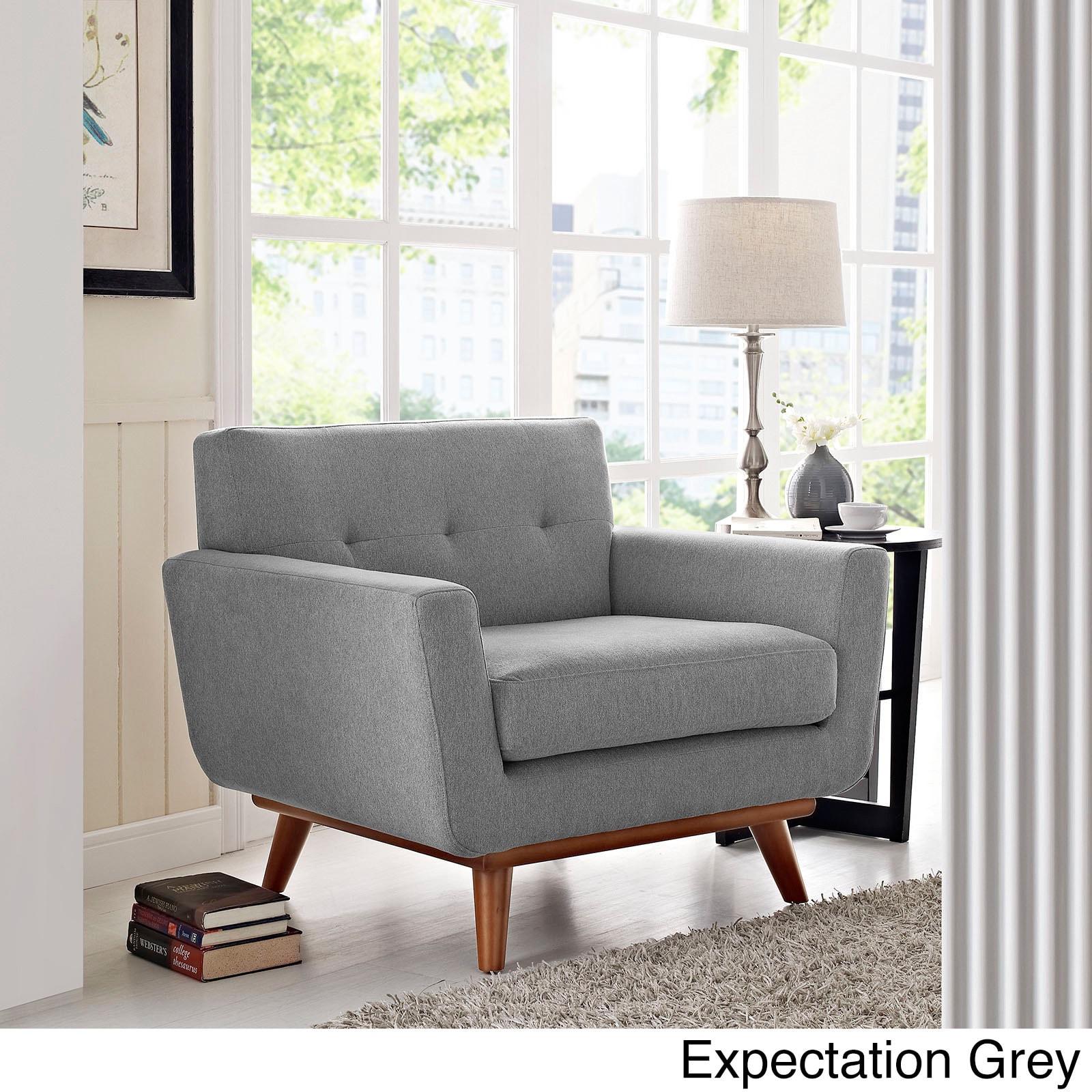 Engage Wooden Leg Mid Century Armchair (Option: White/Blue)