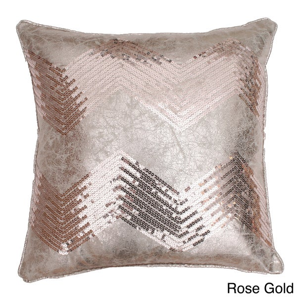 Crackle Chevron Sequin Down Filled Throw Pillow