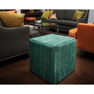 Jani Ema Emerald Green Sari Pouf Cube Ottoman