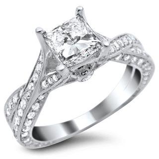 Noori 14k White Gold 1 3/5 ct TDW Certified Princess-cut Diamond Ring