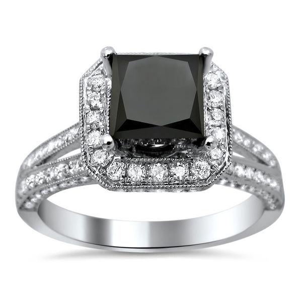 Noori 18k White Gold 2.85ct TDW Certified Princess Cut Black and White Diamond Ring