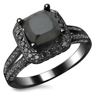Noori 14k Black Gold 2.80ct TDW Certified Black Cushion Cut Diamond Ring