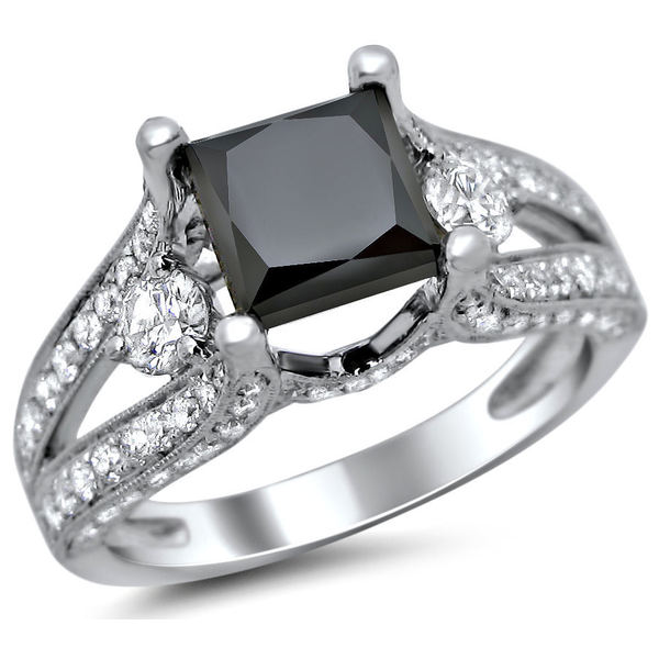 Noori 18k Gold 3 1/3ct TDW Certified Black Princess Cut 3 Stone Round Diamond Engagement Ring