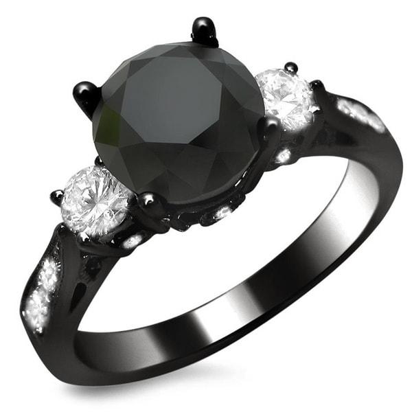 Noori 18k Black Gold 2 1/10ct Certified Black and White Three-stone Diamond Ring