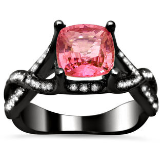 Noori 18k Black Gold 2ct TDW Certified Cushion-cut Diamond and Pink Sapphire Ring