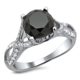 Noori 18k White Gold 3ct TDW Certified Black Round Diamond Twisted Ring