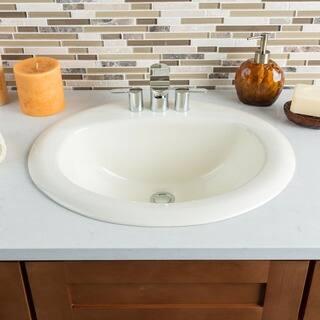hahn ceramic bathroom bisque large oval bowl drop in - Overmount Bathroom Sink