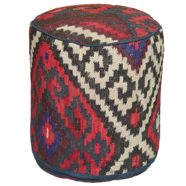 Decorative Kilim Black/Purple/Red Wool Ottoman