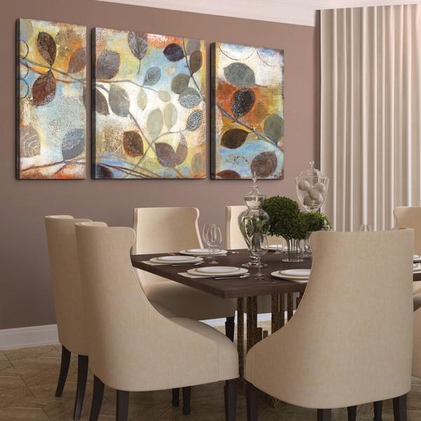 Studio 212 'Autumn Muse' 30x60-inch Textured Canvas Triptych Art Print