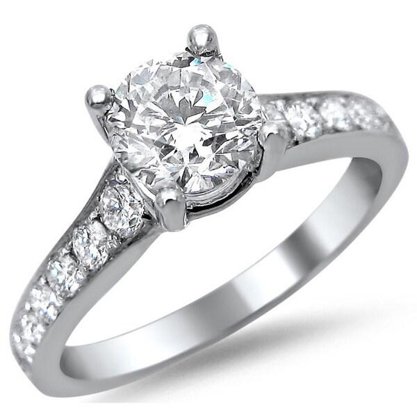 Noori 14k White Gold 1 1/8ct TDW Round Diamond Pave Engagement Ring (G-H, SI1-SI2)