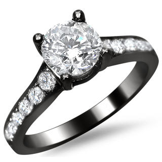 Noori 14k Black Gold 1ct TDW Round Pave-set Diamond Engagement Ring (F-G, SI1-SI2)