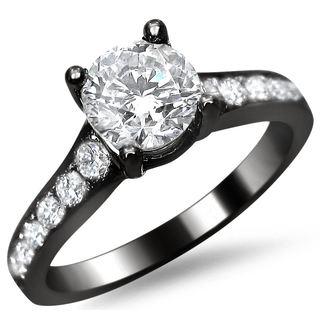 Noori 14k Black Gold 1ct TDW Round Pave-set Diamond Engagement Ring
