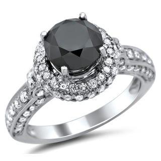 Noori 14k White Gold 2 5/8ct TDW Certified Black and White Round Diamond Halo Ring (G-H, SI2-I1)