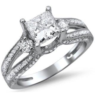 Noori 14k White Gold 1 1/2ct TDW Princess Cut Diamond Engagement Ring