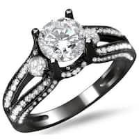 Noori 14k Black Gold 1 1/2ct TDW Round Diamond Split Shank Engagement Ring