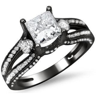 Noori 14k Black Gold 1 1/2ct TDW Princess Cut Diamond Engagement Ring