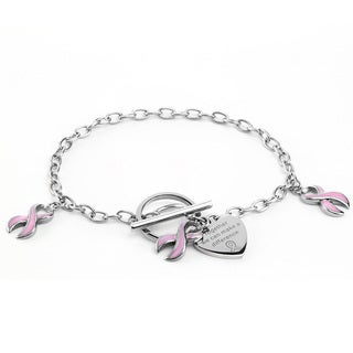 Stainless Steel Breast Cancer Awareness Pink Ribbon Charm Bracelet