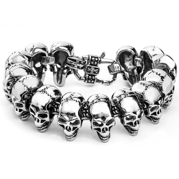 Crucible Polished Stainless Steel Heavy Skull Links Bracelet