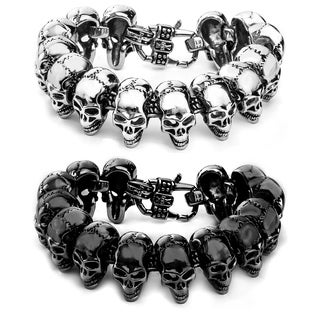 Crucible Polished Stainless Steel Heavy Skull Links Bracelet