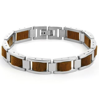 Men's Stainless Steel Wood Polished Link Inlay Bracelet