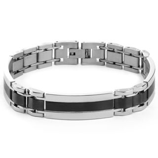 Men's Stainless Steel Brushed and Polished Two-tone Stripe ID Link Bracelet