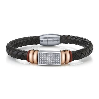 Men's Stainless steel leather & CZ Bracelet