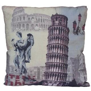 Italy-themed Flax Fiber Throw Pillow