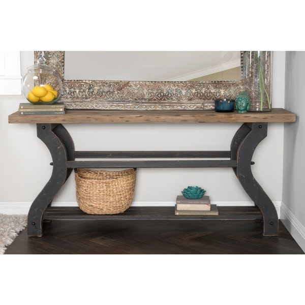 satur natural and black reclaimed wood console table by kosas home