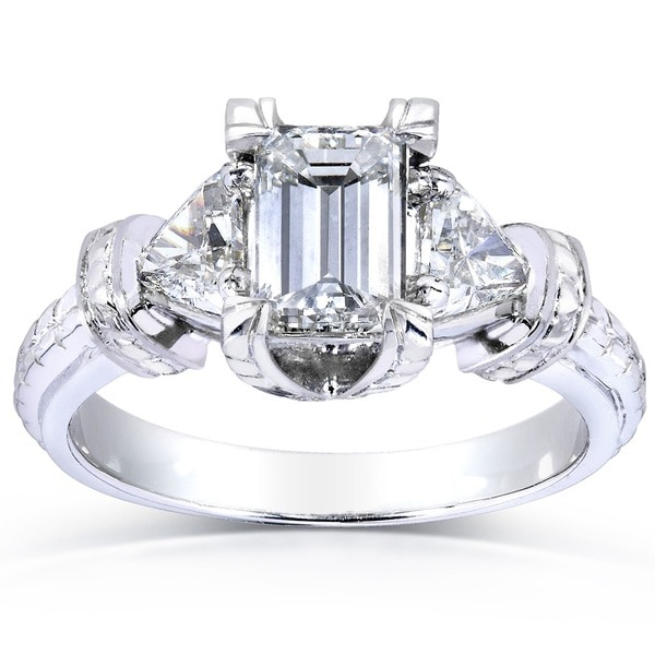 Annello by Kobelli 14k White Gold 1 1/2ct TDW Certified Emerald Trillion-cut Diamond Ring