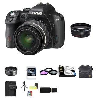 Pentax K-50 Digital SLR Camera with DA 18-55mm AL WR Lens 32GB Bundle