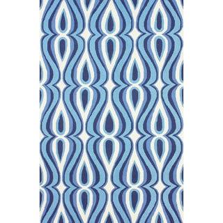 nuLOOM Hand-hooked Modern Swoosh Blue Polyester Rug (5' x 8')