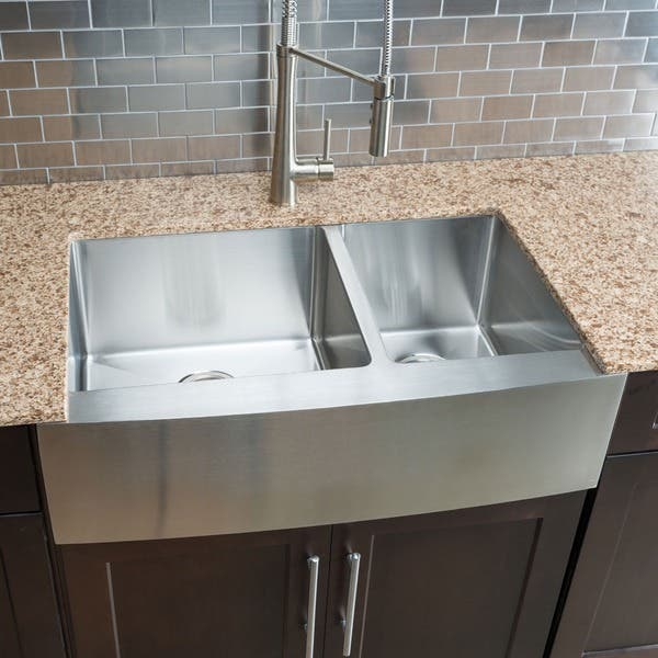 Hahn Chef Series Handmade Large 60 40 Double Bowl Farmhouse Kitchen Sink Overstock 8769457